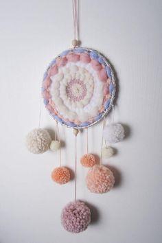 Pom Pom Dream catcher Baby tapestry Circular weaving Round Art