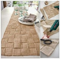 DIY Jute/Burlap table runner-love this for my christmas ideas! Burlap Projects, Burlap Crafts, Diy Projects To Try, Diy Crafts, Sewing Projects, Deco Champetre, Diy Upcycling, Table Runner And Placemats, Burlap Table Runners