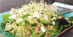 Quinoa salade met kabeljauw, avocado en kiemen