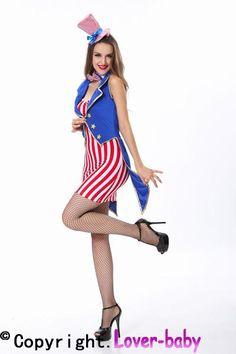 Miss Independence Fourth of July Costume L15108 This Miss Independence Fourth of July costume includes a red and white striped dress, blue vest with tails, bow tie, hat with headband . American flag not included.