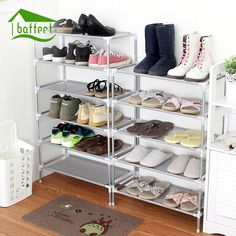 Home Creative Shoes Racks Non-woven Storage Shoes Shelf Stand Multiple layers Stainless Steel Shoe Cabinet Storage Organizer #Affiliate