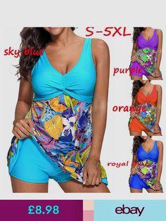 7ff864e8d38 Two Piece Womens Swimdress Tankini Plus Size Floral Swimsuit Swimming  Costume