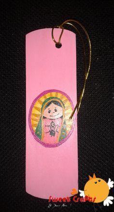 Separador de lectura Virgencita de Guadalupe Que en tu lectura no te falle una Virgencita de Guadalupe! #bookmarks #virgen Técnica: Acrílico sobre madera