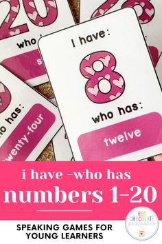 Valentine's Day Number Recognition Card Game: Zero to forty Language Games For Kids, English Games For Kids, Kids English, English Lessons, Number Games For Kids, Games For Kids Classroom, Card Games For Kids, English Vocabulary Games, Grammar And Vocabulary
