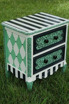 french night stand in bold hand painted deep sage. DIY