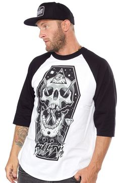 SULLEN ILLUMINATI RAGLAN T SHIRT The Sullen skull and brush logo is reinvented with this Illuminati Raglan tee. This coffin designed tee features an all seeing eye in a mystical setting. Printed on a cotton tee with 3/4 sleeves, a total comfort fit. $28.00 #sullen #guys #skull
