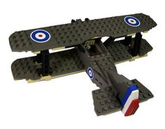 Custom Lego Military Fighter Plane Model Set For Pilot Minifigs British WW1 Sopwith Camel BiPlane