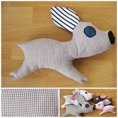 Schweinchen aus Stoffresten / Piggy made from scraps of fabric / Upcycling