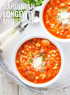 Inspired by the super-healthy, vegetable-packed vegetarian minestrone enjoyed by the long-living res Blue Zones Recipes, Zone Recipes, Diet Recipes, Vegetarian Recipes, Healthy Recipes, Recipies, Vegan Soups, Diet Meals, Bread Recipes