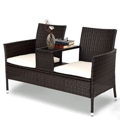 This user-friendly designed chat table nestled between two comfy seats brings you the convenient access to what you need when outdoors. Sit by the firepit with your loved one on a cold winter night or on your deck with a cup of hot cocoa.  It's a romantic seating set up for two to spend quality time together! Affordable price of only $129