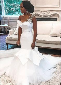 African One-Shoulder Wedding Dresses Mermaid Beaded Lace Up Plus Size Bridal Gowns Bride Dress Robe De Mariee 2020 Tulle Wedding, Dream Wedding Dresses, Bridal Dresses, Bridesmaid Dresses, Ghana Wedding Dress, Nigerian Wedding Dress, African Wedding Dress, Elegant Wedding Gowns, Ivory Wedding