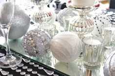 glam Christmas party decorating ideas via www. Diy Christmas Balls, Christmas Party Decorations, Silver Christmas, Xmas Party, Holiday Parties, White Christmas Party Theme, Holiday Ideas, Christmas Ideas, Nye Party