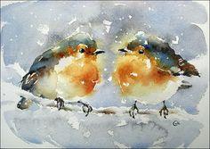 Winter birdies | watercolor 7''x10'' | Maria Stezhko | Flickr Watercolor Bird, Watercolor Animals, Watercolor Paintings, Watercolors, Vogel Illustration, Paint Vector, Watercolor Techniques, Bird Art, Beautiful Birds