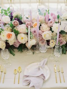 Lavender and gold flatware wedding table design inspiration spring wedding Flowers by Sweet Root Village Gatsby Wedding Inspiration on 100 Layer Cake Blog Styling and Planning by East Made Event Company  Photo by Caitlin Joyce