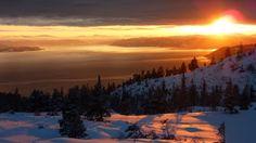 Midnight sun Trondheim Fjord