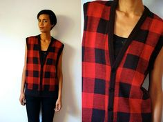 Vtg Red & Black Plaid Lumber Jack Knitted Slouchy by LuluTresors, $24.99