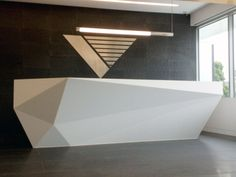 Multifaceted reception desk #counter #lobby #multifacetedreceptiondesk