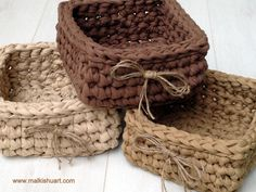 crochet T shirt yarn square basket