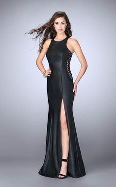 La Femme 26656 Homecoming Dresses 2018 for Girls fast delivery! one unifying feature - Offer La Femme Dresses. Leather Corset, Leather And Lace, Slit Dress, Lace Dress, Grammy Fashion, Gigi Dress, Dresser, Long Evening Gowns, Leather Dresses