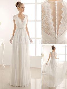 Vestido de noiva marfim linha-A em chiffon e renda com decote V - Milanoo.com