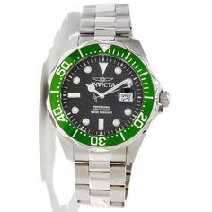 Invicta 12564 Men's Grand Diver Black Carbon Fiber Dial Green Bezel Stainless Steel Bracelet Dive Watch