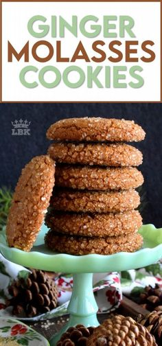 These Ginger Molasses Cookies are made with classic Christmas ingredients that flood the senses with thoughts and memories of home. #ginger #molasses #cookies #christmas #traditional #holiday #oldfashioned Delicious Cookie Recipes, Holiday Cookie Recipes, Best Cookie Recipes, Baking Recipes, Easy Desserts, Dessert Recipes, Ginger Molasses Cookies, Incredible Recipes, Food Shows