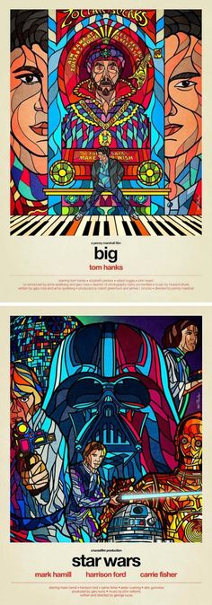Stained Glass 80's Movie Posters #tomhanks #starwars