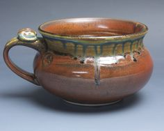 Handmade pottery soup mug ceramic chili mug cereal ice cream bowl iron red 20 oz 3955 by BlueParrotPots on Etsy