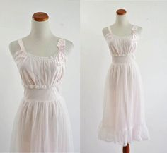 Long Nightgown -- Ethereal Pale Pink & White Lace Ruffle Lingere -- Small Medium - LoveItSoMuch.com