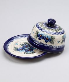 Take a look at this Blue & Green Floral Cheese & Butter Dish by Lidia's Polish Pottery on #zulily today!