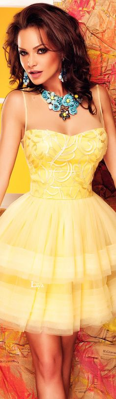 ♔LAYA♔ATMOSPHERE FASHION♔ | Little yellow cocktail dress | Sexy brunette in…