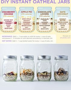 DIY Instant Oatmeal Jars. You can go super-healthy with it or whip yourself up a sweet treat (with some fiber and protein to back it up). And that's just the beginning—oats are a blank slate. #YAYOATS  http://pinterest.com/wasitworthit