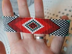 Loom beaded bracelet with waxed cord/Handmade bracelet native inspired festival bohemian boho hippie Simple Bracelets, Bead Loom Bracelets, Handmade Bracelets, Bead Loom Patterns, Jewelry Patterns, Beading Patterns, Loom Bands, Boho Hippie, Beaded Earrings