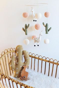 Llama & Cactus Nursery Mobile from BohoBabyHeaven on Etsy