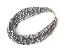 Multi strand pearl necklace, Chunky pearl necklace, Silver pearl necklace, Glass pearl jewelry, Layered pearl necklace - pinned by pin4etsy.com