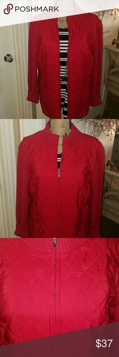 🎈🆕 SWEATER QUILTED JACKET Garlin red light weight sweater jacket that has a quilted front. This is a darling jacket for spring with jeans or slacks. The body of the jacket is 100% cotton and the front is polyester. Brand new with tags and darling. croft & barrow Jackets & Coats