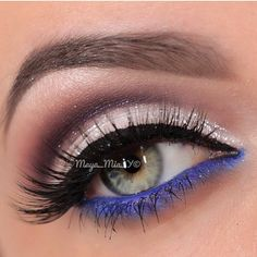 """Closeup of @Maya_Mia_y shimmering white cut crease with a pop of blue Lashes: #FlutterLashes in """"Lynda"""" from Natural Collection. ✨Visit us at www.FlutterLashes.com✨"""