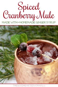 Spiced Cranberry Mule: Warm spices like ginger and cinnamon pair perfectly with crisp cranberry vodka to create a festive, truly refreshing holiday treat. Easy Drink Recipes, Best Cocktail Recipes, Easy Cocktails, Alcohol Recipes, Fun Drinks, Yummy Drinks, Vodka Cocktails, Martinis, Vodka Martini