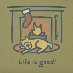 Men's Fireplace Stocking Crusher Tee | Life is good