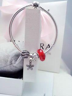 50% OFF!!! $139 Pandora Charm Bracelet Red White Black. Hot Sale!!! SKU: CB01884 - PANDORA Bracelet Ideas