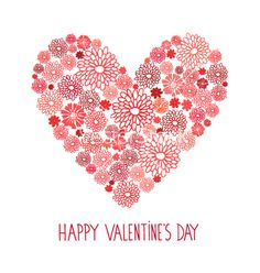 Valentines day red floral card vector - by inkant on VectorStock®