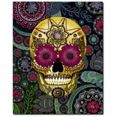 Colorful Paisley Sugar Skull - Art Canvas Print- Solid Surface with Fully Finished Back and UV Coating - Sugar Skull Paisley Garden - Fusion Idol - Art and Gifts by Artist Christopher Beikmann - 1