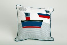 Two Ships Cushion (infill included): Anchor's away! Spark your kid's imagination with this nautically themed cotton cushion with piped edging. Rs. 1,950