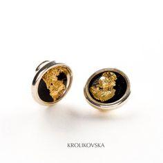 Gold Foil Earrings Clip On Studs Black & Gold Clip Ons Clip | Etsy Clip On Earrings, Silver Earrings, Resin Jewelry, Unique Jewelry, Gold Foil, Black Gold, Studs, Cufflinks, Handmade Gifts