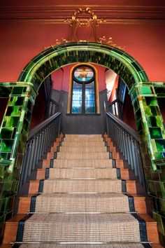 Built in Houghton's heritage gem, the Cullinan House, is the only remaining example of Art Nouveau architecture in Johannesburg. Art Nouveau Architecture, Interior Architecture, Interior Design, Examples Of Art, Old Houses, Home Art, Stairs, Building