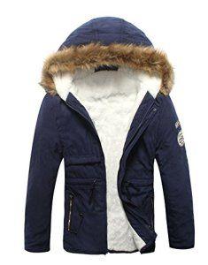 parka homme manteau Parka a Capuche Fourrure Doublure hiver chaud Blouson bleu fonce,FR 48 Etiquette US M42