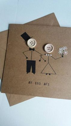 Wedding card mr and mrs marriage wedding day greetings card kraft buttons bride groom is part of Wedding cards handmade - A lovely quirky wedding card with stickman bride and groom Handmade on card with 120 gsm envelope and measures