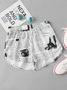 SheIn offers Newspaper Print Shorts & more to fit your fashionable needs. Older Women Fashion, Girls Fashion Clothes, Tween Fashion, Teen Fashion Outfits, Girls Summer Outfits, Cute Girl Outfits, Sporty Outfits, Cute Pajama Sets, Cute Dresses For Party