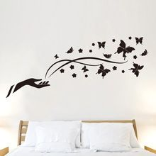 New Charming Removable PVC Decals Black Butterfly Flowers Wall Stickers For Bedroom Living Room Decoration(China (Mainland))