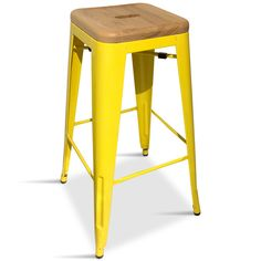 Yellow Industrial Bar Stool with Wooden Seat